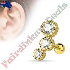 316L Surgical Steel Gold Ion Plated Tragus/Cartilage Stud with 3 Round CZ