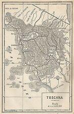 A2939 Toscana - Carta geografica antica del 1910 - Old Map