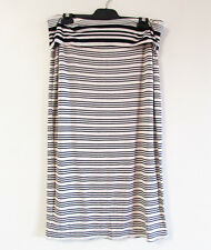 Max Studio Size XL Beige Navy Soft Jersey Fold Down Waist Pull On Midi Skirt $94