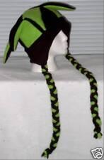 NEW fleece jester snowboarding hat green & black w/ties