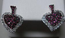 STERLING SILVER CREATED RUBY & CZ HEART EARRINGS