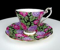 """ROYAL STANDARD ENGLAND PINK FLORAL CHINTZ ON BLACK 3"""" CUP AND SAUCER"""
