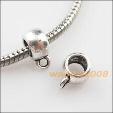 15 New Tibetan Silver Smooth Charms European Bail Beads Fit Bracelet 8x11mm