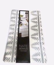 Nate Berkus Table Runner White Silver Metallic Leaf 14 x 72 New