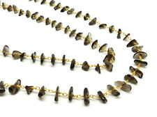 5 Feet Rosary Chain Natural Gemstone Smoky Quartz Nuggets Chips Gold Plated