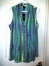 Dressy Worthington Blouse/Top-1X, vivid lime/blues multi  Sexy sleeveless!  NWT