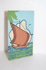 Asian Hand Painted Vintage POSTCARDS - Ship Sailing OCEAN