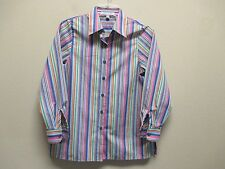 Foxcroft Sz 6P Wrinkle Free Classic Fit multi-color striped long sleeve Excel.