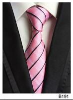 Pink, Grey and White Stripe Patterned Handmade 100% Silk Wedding Tie