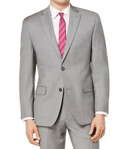 Michael Kors Mens Suit Jacket Gray Size 48 R Classic-Fit Stretch Wool $450 098