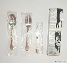 New Oneida 3pc Flatware Serving Set Golden Royal Chippendale Fork Spoon