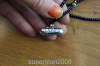 SL000 Sterling Silver 925 Tibetan Amulet Om 24mm Prayer Box Pendant Necklace