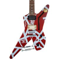 EVH Striped Series Shark Electric Guitar Burgundy with Silver Stripes