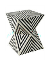 Handmade Bone Inlay Side Wooden Antique Table Black white Arrow Design