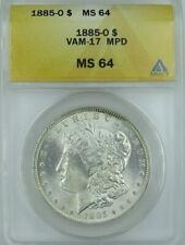 1885-O MORGAN DOLLAR  VAM-17, MPD, ANACS MS64