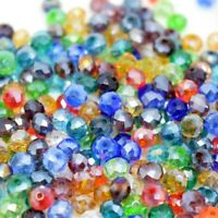 BAG OF 50 RONDELLE BEADS FACETED GLASS CRYSTAL CUT MIXED COLOURS 4 SIZES BD8