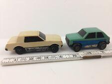 "Vintage Hong Kong Mini 4"" TONKA Cars TORNADO & HATCHBACK Used Car LOT lots wear"
