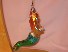 Blow Glass Mermaid Ornament Holding Seashells; Made By SCF