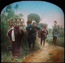 HAND COLOURED Glass Magic Lantern Slide JAPANESE FARM WORKERS C1890 JAPAN