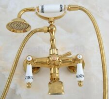 Gold Color Brass Wall Mounted ClawFoot Bath Tub Faucet With Hand Shower fna858