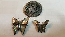& Abalone brooches Lot of 3 Sterling