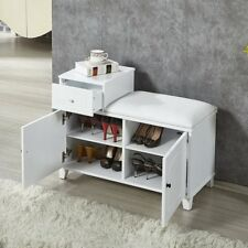 White Shoe Bench Cabinet With Two Doors And Cushion Movable wood drawer
