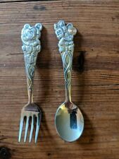 Vintage Mickey and Minnie Mouse children's fork & spoon