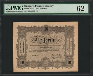 Hungary 10 Forint 1848 - PMG 62 Uncirculated