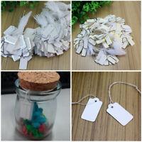 1000 x 70mm x 43mm Bianco cordati string Swing tag prezzo biglietti Tie Su Etichette
