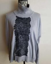 Karen Millen Size S Small Relaxed Gray Black Lace Knit Poncho Tunic Turtle Neck