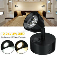 12-24V 3W LED Wall Spot Reading Light Switch Bedside Caravan Boat Lamp Motorhome