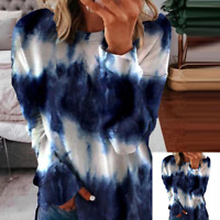 Women Tie-dye Print Casual Tops Crew Neck Tunic Long Sleeve Loose T Shirt Blouse
