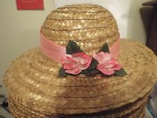 Young Girls Easter hat Natural color straw w/ pink flowers and ribbon
