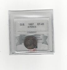 **1887 JEB**Great Britain, 6 Pence, Coin Mart Graded **EF-45**
