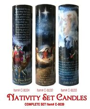 NATIVITY SCENE, WISEMEN, SHEPARD AND ANGELS LED CANDLES SET OF 3:  6 Hour Timer