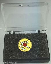 Masonic Faith Hope & Charity Gold Plated Enamel Lapel Pin Badge In Gift Box