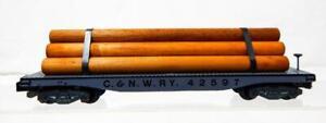 CLEAN PRESSED WOOD American Flyer 928 C&NWRY Log Flatcar 42597 Knuckle C8 Large