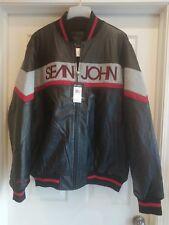 SEAN JOHN Mens Black Leather Jacket Coat, Size 2X 2XL, NWT NEW, Retail $475