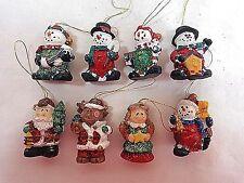 MINI CHRISTMAS ORNAMENTS Set of 8 Glitter Miniature Snowman Santa Angel