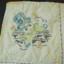"""Vintage Embroidered Baby Quilt   Nursery Rhymes   25"""" x 35"""""""