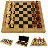 Folding Large Wooden Chess Set High Quality 32 Piece Chessboard Game Gift Toy