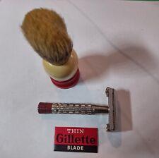 """Vintage Razor--Gillette """"Red Tip"""" Super Speed Razor with """"Thin"""" Blade & Brush"""