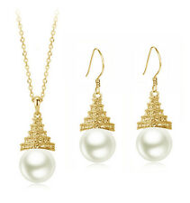 Bridal Jewellery Set White Pearl & Gold Water Drop Earrings & Necklace S621