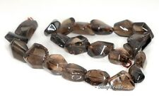 """20X13-14X12MM  SMOKY QUARTZ GEMSTONE FACETED NUGGET LOOSE BEADS 7.5"""""""