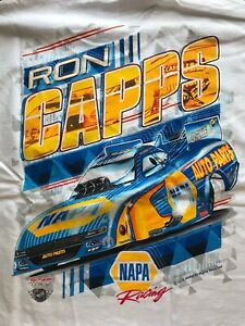 """NHRA DRAG RACING """"NAPA KNOW HOW"""" RON CAPPS White T- SHIRT  SIZE 2X"""