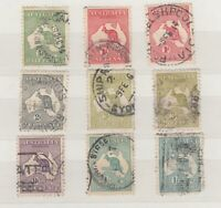 Australia 1913 Roo Collection Of 9 1/- SG11a Fine Used JK624