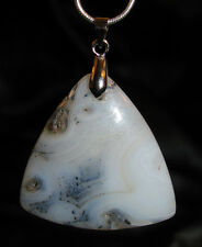 Dendritic Agate stone pendant snake chain necklace healing jewelry spiritual