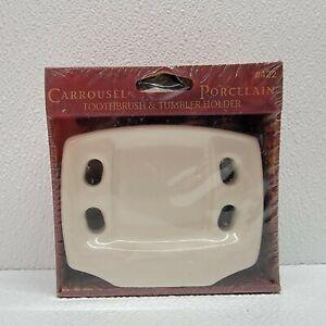 """New Vintage Lenape Carrousel Porcelain Toothbrush & Tumbler Holder #422 """"Bone"""""""