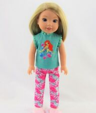 """Doll Clothes AG 14 1/2"""" Pajamas Little Mermaid Teal Pink Fits 14 1/2"""" AG Dolls"""