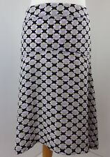 TED BAKER 100% silk skirt Size 2 flared geometric print black pastel colours